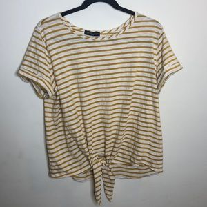 Kim & Cami yellow striped tie-front top